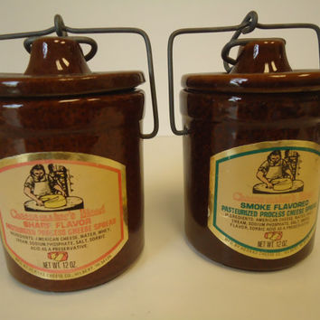 Brown Stoneware 2 Crock Jars with Bail Wire Closure Hernke Cheese Co Wisconsin