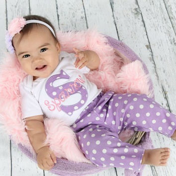 Personalized Baby Girl Clothes Newborn Girl Take Home Outfit Lavender Pink Baby Girl Bodysuit w/ Pants & Headband Options New Baby Gift Set