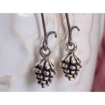 Tiny Pinecone Dangle Earrings