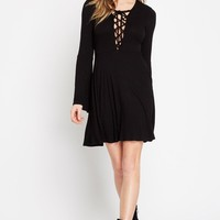 Gossip Girl Lace Up Ribbed Dress