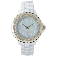 White Dahlia flower Wrist Watch