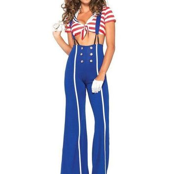 MDIGH3W 3PC.Ship Shape Sailor,crop top,flared pants w/suspenders,hat in BLUE/RED