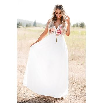 Listen To Love Embroidered Maxi Dress (Ivory)