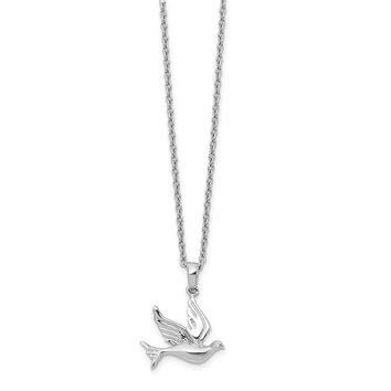 Sterling Silver White Ice Diamond Dove Pendant Necklace