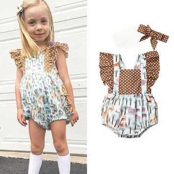 Summer Kids Baby Girl Clothing Sets Animal Print Fly Sleeve Ruffle Romper+Headband 2Pcs Cute Baby Girl Cotton Outfits 0-24M