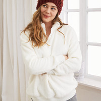 Aerie Oversized Quarter Zip Top , Soft Muslin