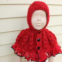 Knitted Red Hood Red Riding Hood Cape  Red Hoodie Kids Knit Hood Frilly Baby Cape Kids Capalet Baby Gift  Cable Knit Poncho EXPRESS SHIPPING