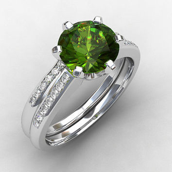 engagement ring set, peridot ring, engagement ring, wedding band, diamond ring, green, diamond engagement, pave, eternity, solitaire