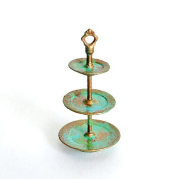 Miniature Fairy Garden Accessory - Dollhouse Cake Stand - 3 Tier Patina Style