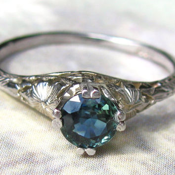 Antique Engagement Ring Petite Blue Green Colored Stone 14K White Gold Edwardian Filigree Ring Size 5!