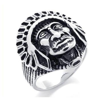 Wild Cool Vintage Ring Jewelry Stainless Steel Ring Native American Indian Ring Man's Ring Size 7 8 9 10 11 Width 25mm