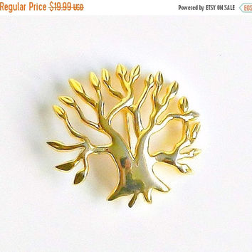 SALE Tree Of Life Brooch, Vintage Liz Claiborne Signed Designer Brooch, Golden Tree Pin, Environmental Jewelry, Figural Nature Brooch.
