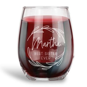Birthday Gifts for Women and Men, Personalized 15 oz. Stemless Wine Glass | Best Ever| Funny Vintage Ruby Anniversary Gift Ideas