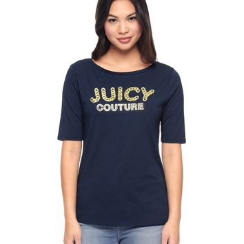 Boat Neck Foil Embellished Tee by Juicy Couture,