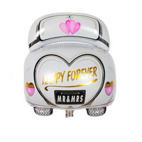 Happy Forever White Wedding Car Foil Balloon for Wedding Valentie's Day Engagement Party Balloon for Wedding Party Layout