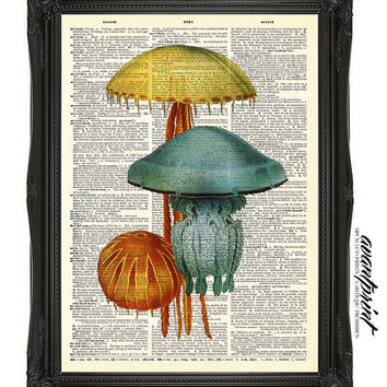 Jellyfish Under the Sea Original Vintage Print on an Unframed Upcycled Bookpage