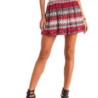 Smocked-Waist Printed Skater Skirt by Charlotte Russe - Coral
