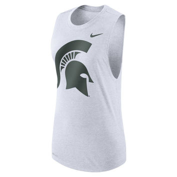 Women's Nike White Michigan State Spartans Logo Performance Muscle Tank Top