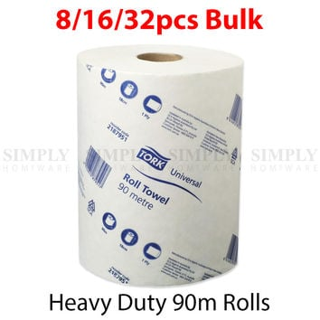 Paper Hand Towels Towel Roll Bulk Industrial Kitchen 90m 16 Pack 1Ply
