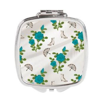Vintage Teal Roses Square Compact Mirror> Vintage Teal Roses> Accessorize Me