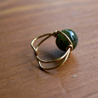 Green Garnet and Gold Tone Wire Wrapped Ear Cuff