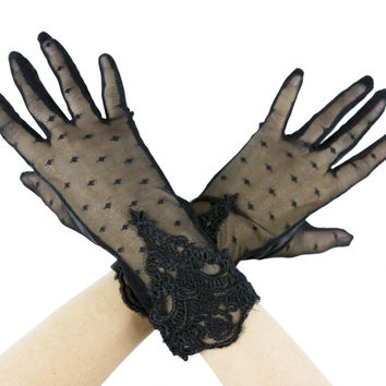 Gothic Boho Black Polka Dots Mesh Gloves w/ Lace Embroidery
