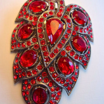 Red Floral Art Deco Dress-Sweater-Fur Clip, Rhinestones, Vintage