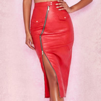 New PU skirt with false zipper pocket and irregular leather skirt
