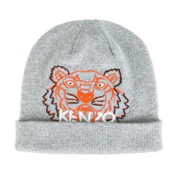 Baby Boys Grey Knitted Tiger Hat