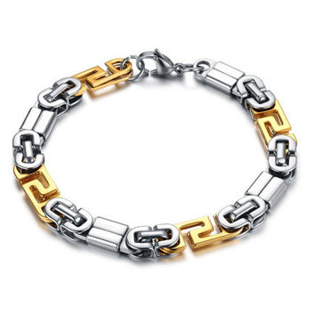Black and Gold Stainless Steel Link Bracelet