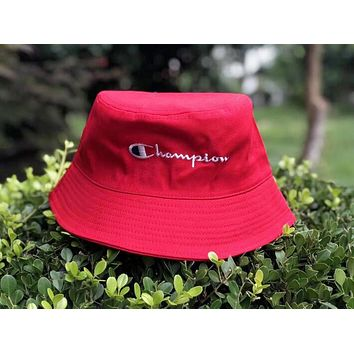 Champion Summer Popular Unisex Casual Embroidery Shade Sunhat Fisherman Hat Cap Red I12354-1