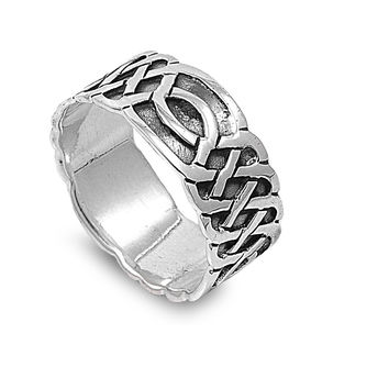 925 Sterling Silver Wiccan Weave 10MM Ring