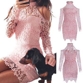 Pink Bare Shoulder Lace Overall Party Dress