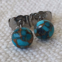 Blue Copper Turquoise 6mm Hypoallergenic Stud Earrings