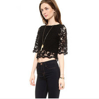 Round-neck Half-sleeve Black Hollow Out Lace Tops [6338876929]