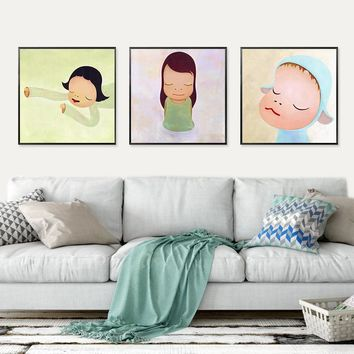 Posters And Prints Japanese Yoshitomo Nara Modern Wall Art Canvas Painting Kids Baby Room Pictures Living Room Figure Decoration