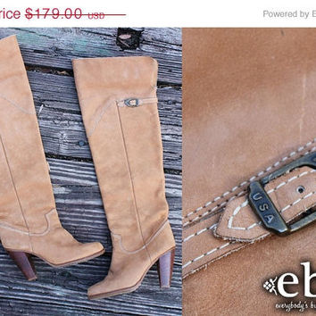 ON SALE Vintage 70s ZODIAC Otk Over Knee Leather Wood Stacked Heel Hippie Boho Thigh High Boots 5