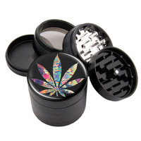 "Leaf - 2.25"" Premium Black Herb Grinder - Custom Designed"