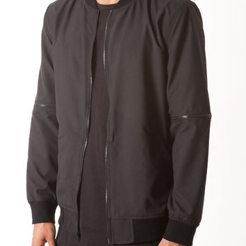 NYLON BOMBER JACKET W/ ZIP OFF SLEEVES
