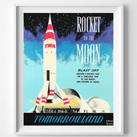 Disney World Poster, Rocket To The Moon, Vintage Poster, Blast Off, Disneyworld, Restored, Restoration, Tomorrowland, Fathers Day Gift