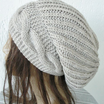 Hand Knit Hat- Womens hat -  Slouchy Beanie  Winter  Hat   Fall Winter Accessories  beret Oatmeal Beige  Autumn Fashion