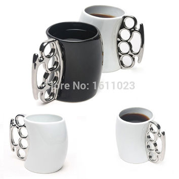 Fisticup Brass Knuckle Duster Handle Coffee Milk Ceramic Mug Cup Fist Cup Gift  E2shopping