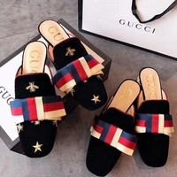 GUCCI Embroidered Velvet Fine Women's Fashion High Heels Slippers F