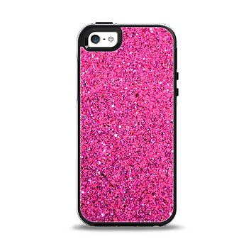 The Pink Sparkly Glitter Ultra Metallic Apple iPhone 5-5s Otterbox Symmetry Case Skin Set