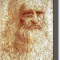 Portrait of a Man in Red Chalk (Self Portrait of Leonardo da Vinci), Picture on Stretched Canvas Wall Art Decor, Ready to Hang!