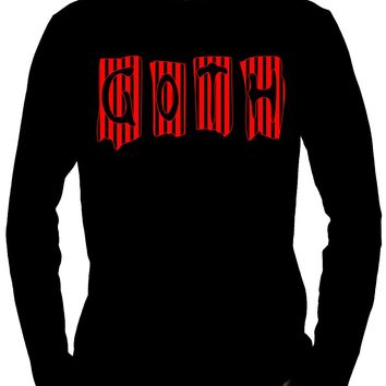 Black & Red Vertical Stripe GOTH Men's Long Sleeve T-Shirt Beetlejuice Clothing