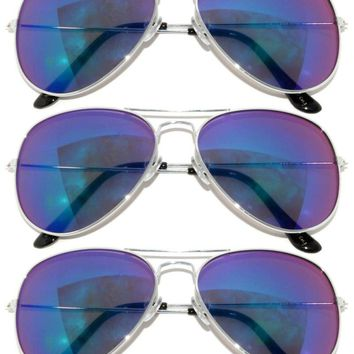 3 PAIRS OF SILVER FRAME COLORED BLUE-GREEN MIRROR LENS AVIATOR STYLE SUNGLASSES 889559030191