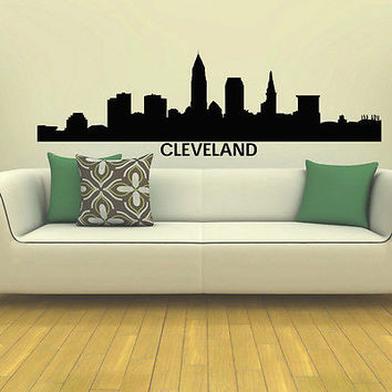 WALL DECAL VINYL STICKER CLEVELAND SKYLINE CITY SILHOUETTE DECOR SB84