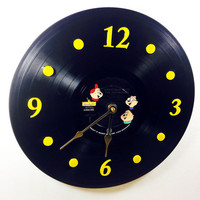 """Clock, Vinyl Record Clock, Alvin and the Chipmunks Record, Recycled Music Record, 12"""" Record, Battery & Wall Hanger included, Item #31"""
