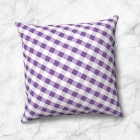 Purple and White Gingham Pattern Faux Suede Pillow